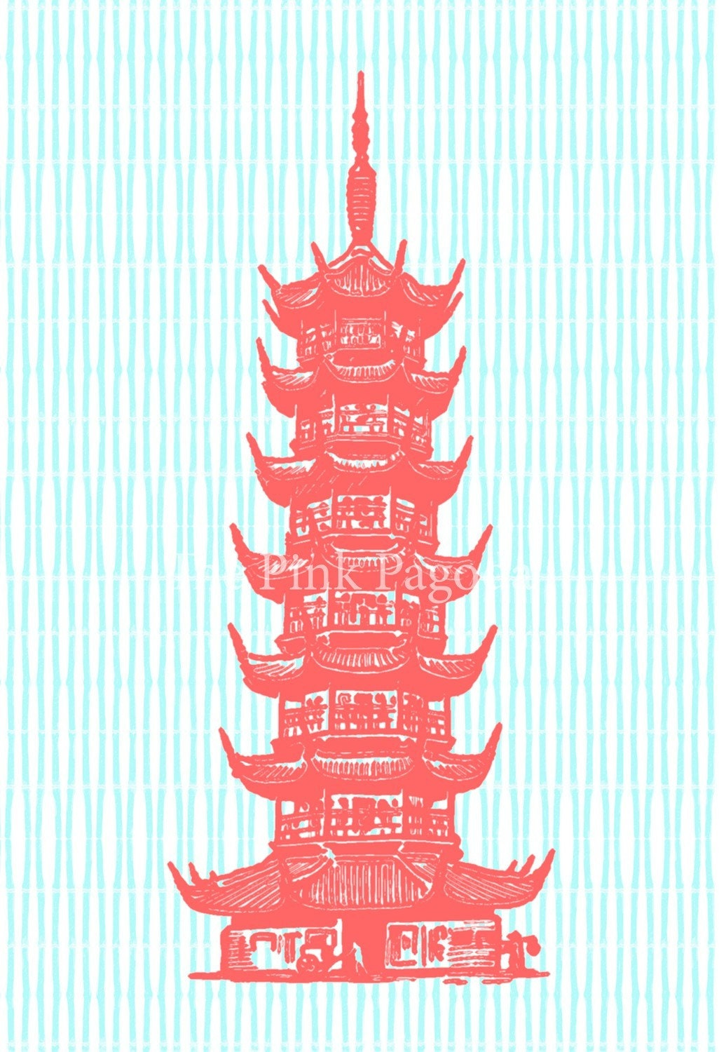Coral Pagoda on Turquoise Fine Art Giclee 11x14