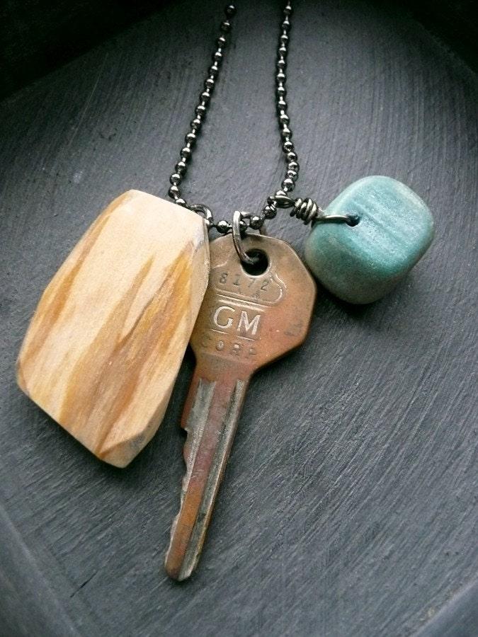 Things Found - Unisex - Key, Wood, Stone Necklace.
