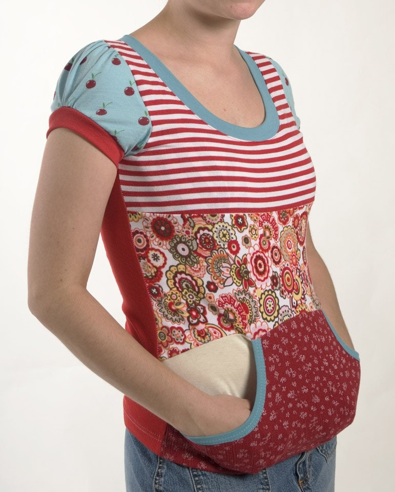 Red and Blue T-shirt made with Upcycled Materials-Cute Puffy sleeves-Kangaroo pocket-XSmall