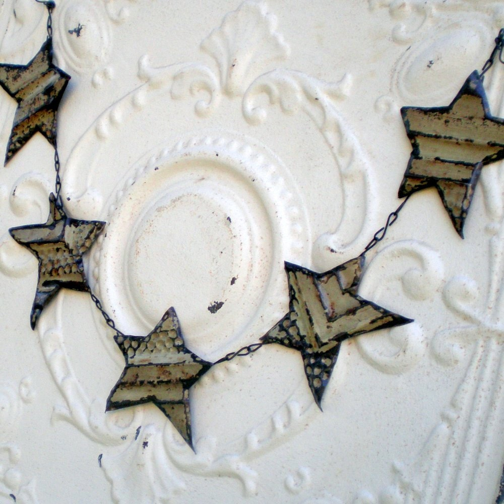 Christmas Decoration Rustic Star Garland Banner Vintage Tin Ceiling Tile - CottageInTheSun