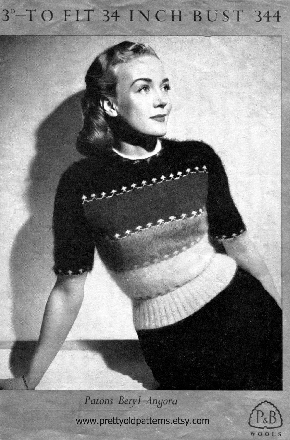 Lovely Ladies Angora Striped Sweater 34 Bust Patons 344 1940s or 50s Vintage Knitting Pattern Download