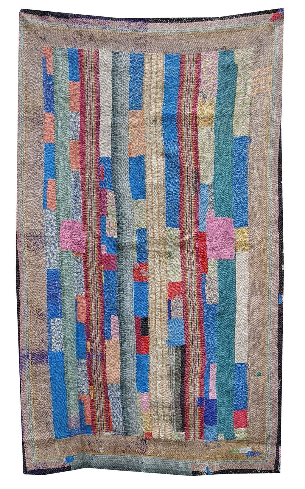 Vintage Exclusive Beige  Blue Kantha Embroidery Reversible QuiltKantha Bedspread Indian Blanket Kantha Throw Coverlet Decorative Throw