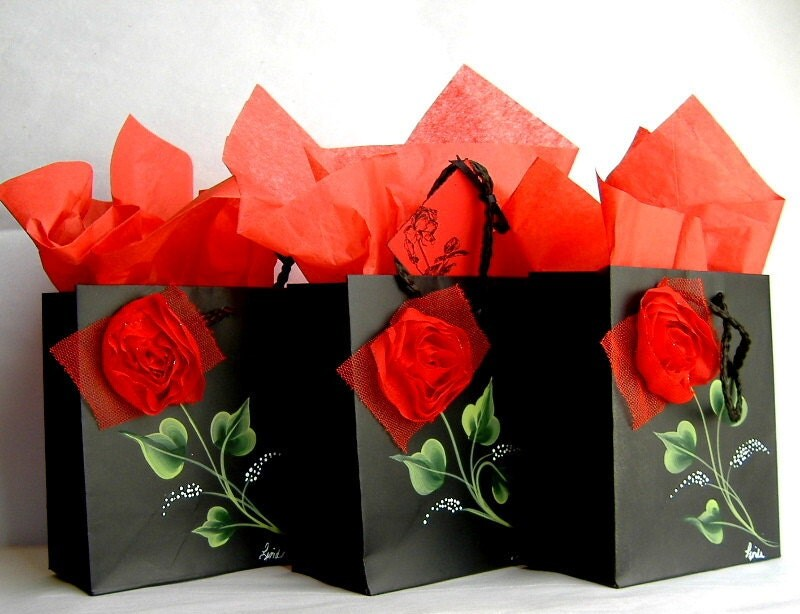 Set of Black Keepsake Gift Bags with Handpainted Leaves, Red Fabric Flowers, Gift Tags