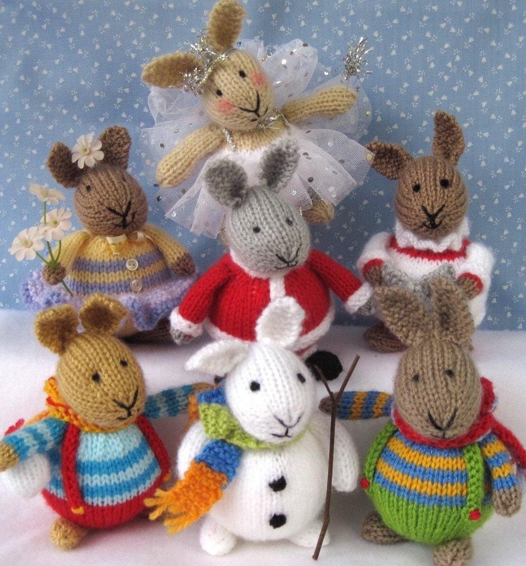 6 الگوهای اسم حیوان دست اموز -- زمستان در BUNNYLAND -- خرگوش اسباب بازی knitted -- ایمیل اف بافندگی الگوی