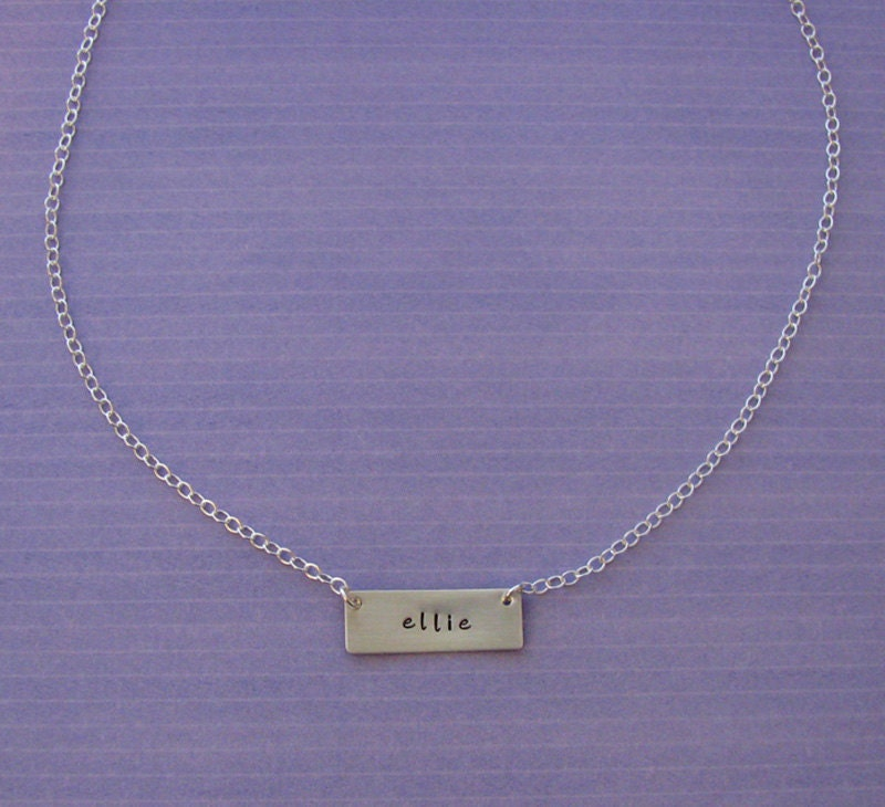 custom hanging tag necklace - hand stamped sterling silver