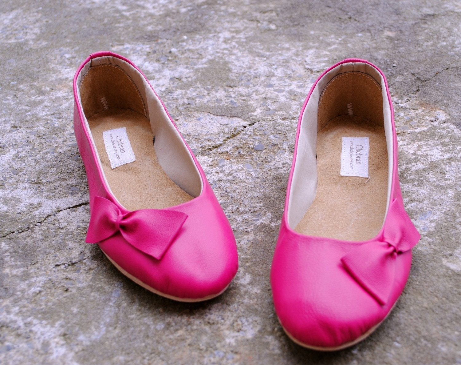 Fuchsia handmade leather flats, MADE to your MEASUREMENTS