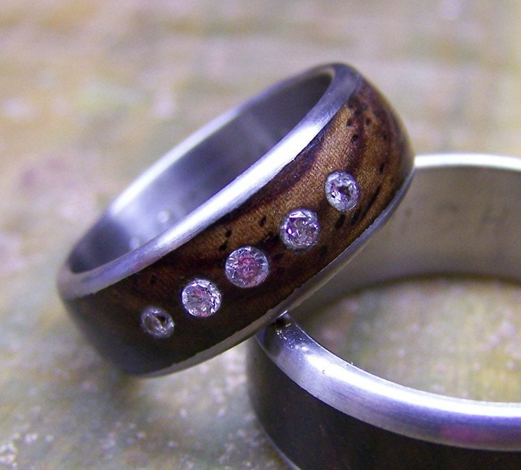 Etsy Titanium and Cocobolo Inlay Band with Diamonds industrial