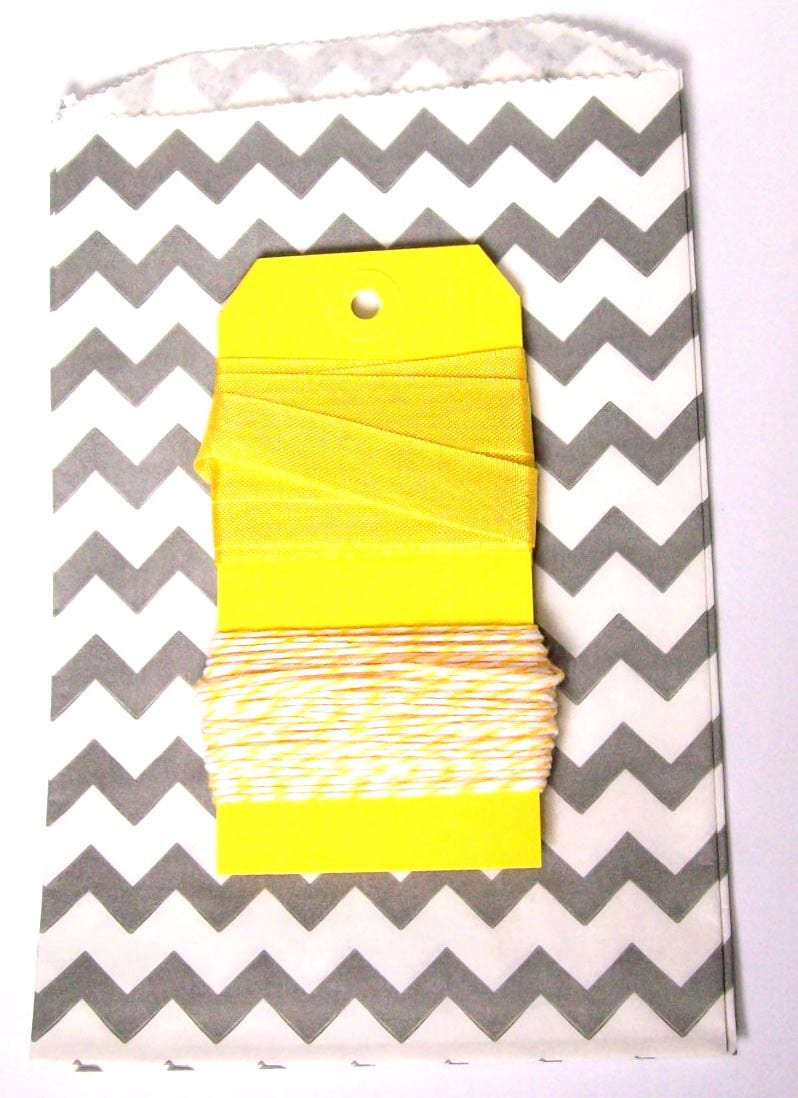 Grey and Yellow Chevron bag, Twine, and Seambinding set with yellow tags