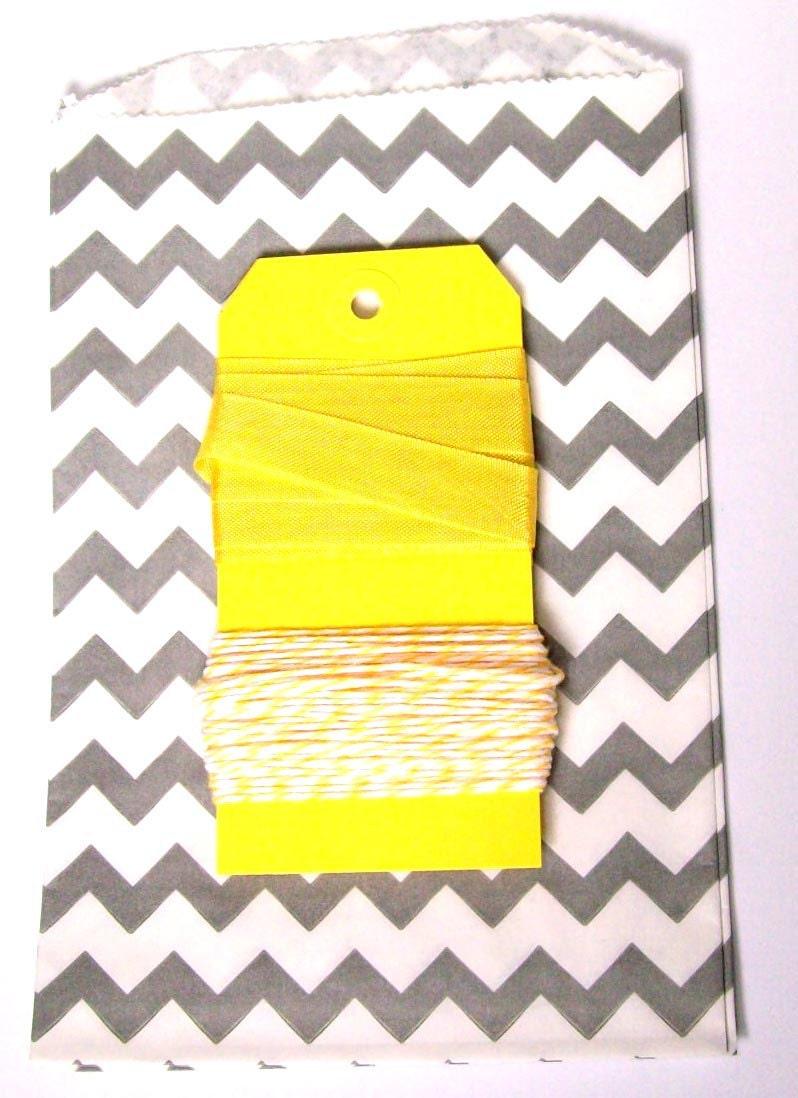 Grey and Yellow Chevron bag, Twine, and Seambinding set with yellow tags