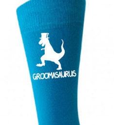 Groomasaurus  print mens blue socks  wedding day married groom dino dinosaur top hat design