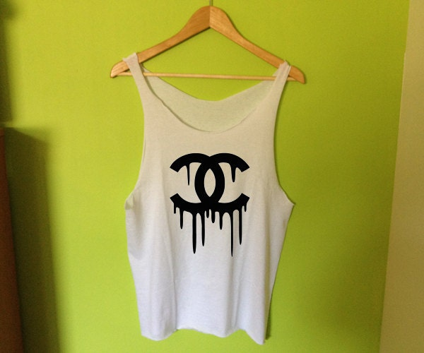 Dripping Chanel Logo Printed Tee Shirt Tank On The Hunt