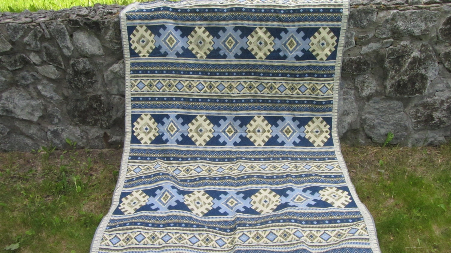 Vintage cotton Blue tablecloth, Blue tablecloth with Ukrainians ornament, great