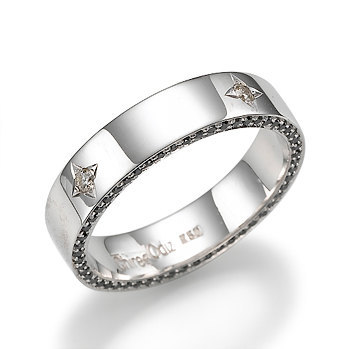 Wedding Ring - Black Star Designer Band in 14k White Gold