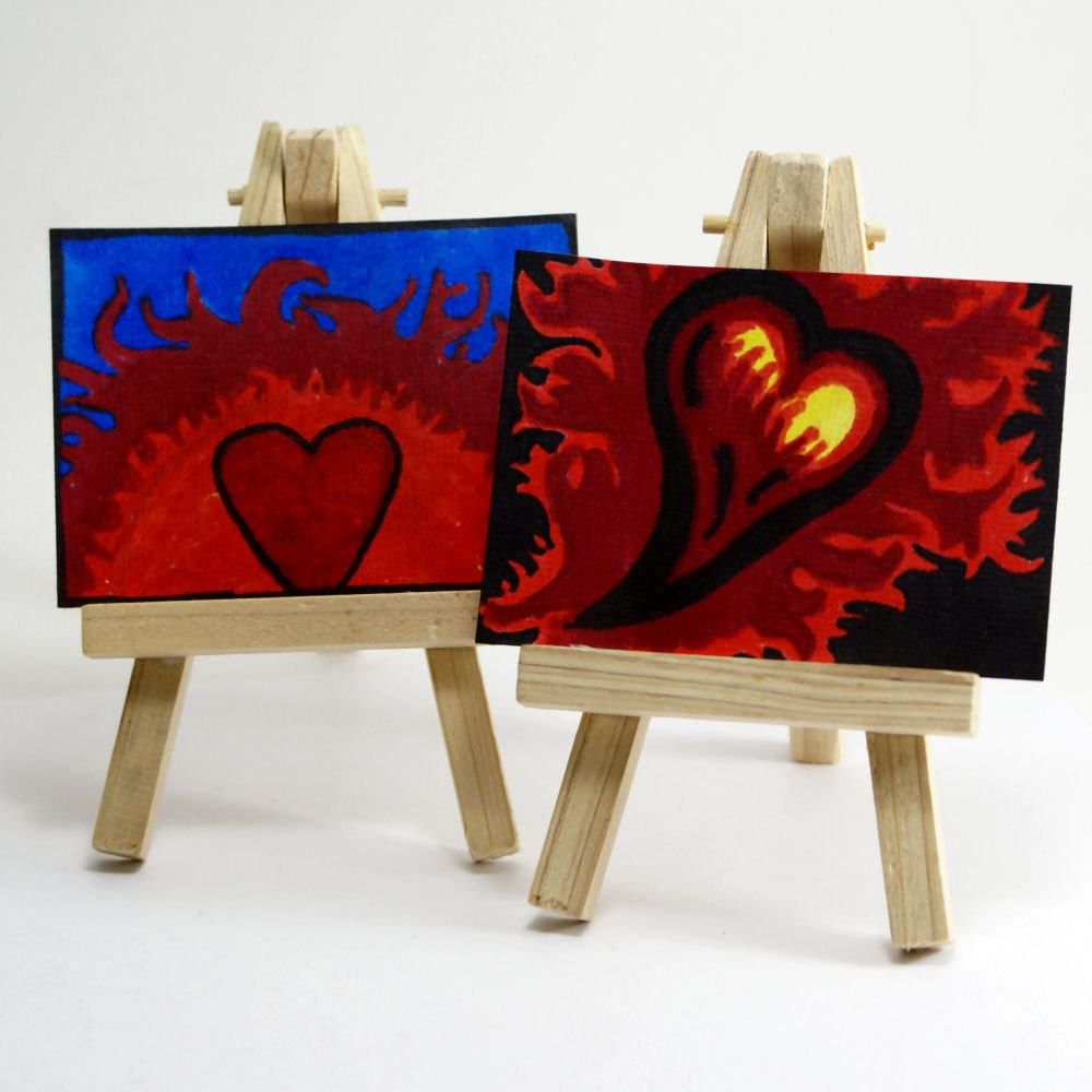 Hearts On Fire ACEO ATC Set Of 2