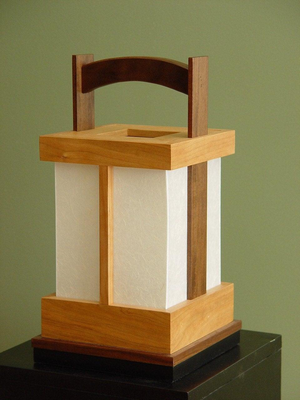 Japanesestyle Shoji Lamp  Walnut/Cherry by takumidesigns24 on Etsy from etsy.com