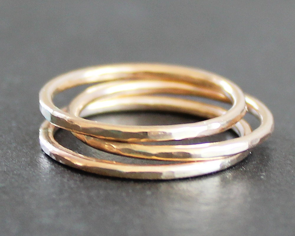 Stacking Ring Handmade Gold Filled Hammered Band (1 Ring)