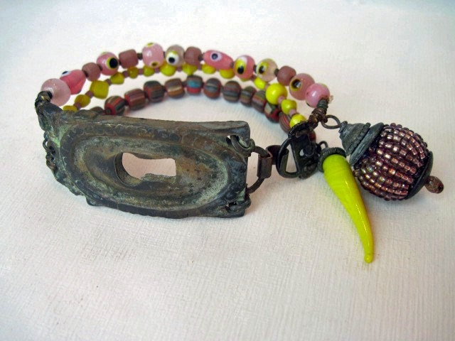 The Aperture. Colorful Rustic Gypsy Victorian Tribal Bracelet.