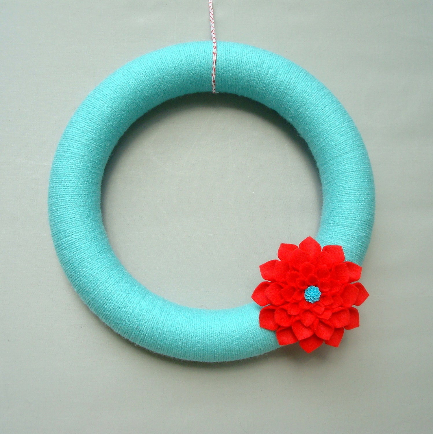 "Turquoise Yarn Wreath and Flower Felt, 12 ""Wreath Modern Door, Aqua, turquoise, red, Dahlia felt flowers, wreaths Sincere Yarn"