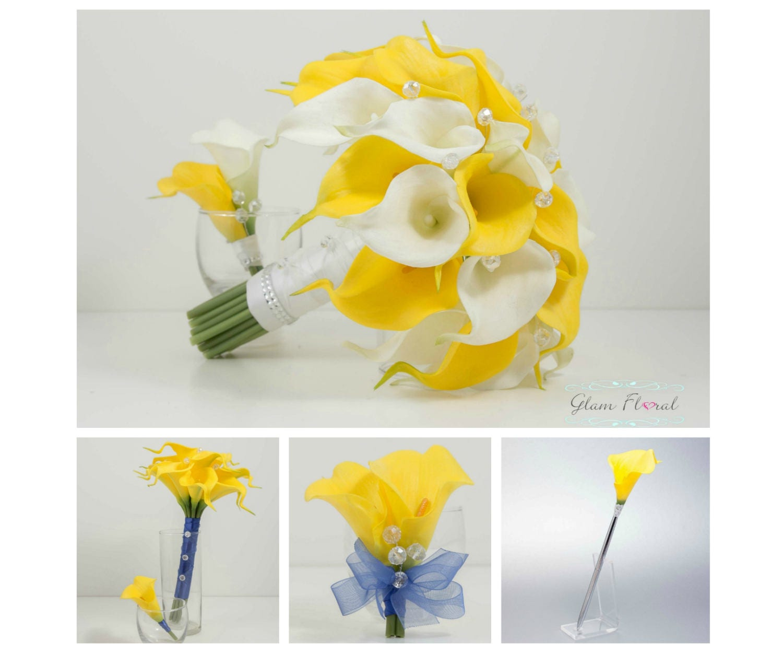 Yellow Calla Wedding Flower Package 11 Piece