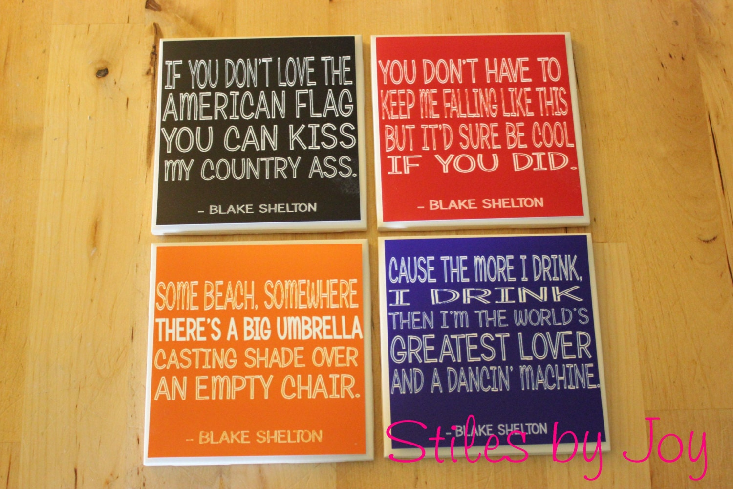 Set of 4 Ceramic Tile Coasters - Country Music Set - Blake Shelton
