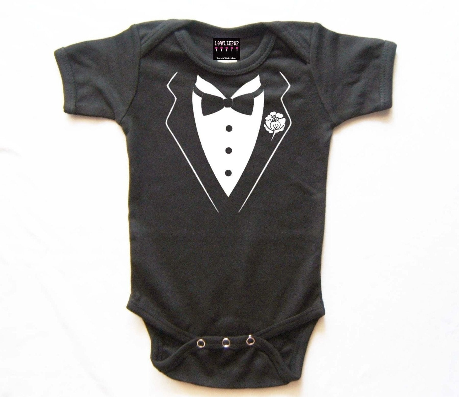 Punk Rock Baby Gift Kit black white Tuxedo Bowtie onesie star hat box