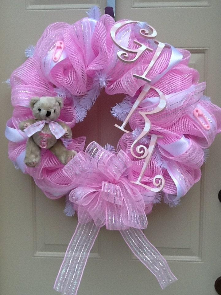 baby girl wreath nursery wreath shower gift baby wreath girl pink