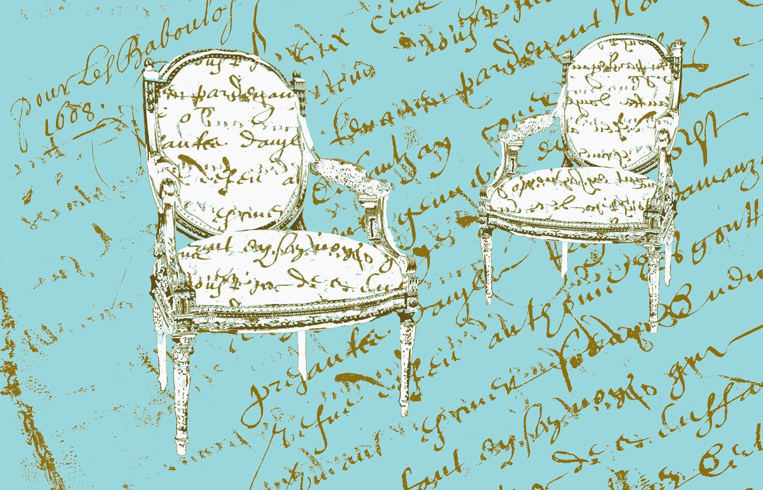 Two French Chairs Aqua,  Cotton Sateen - frenchscript