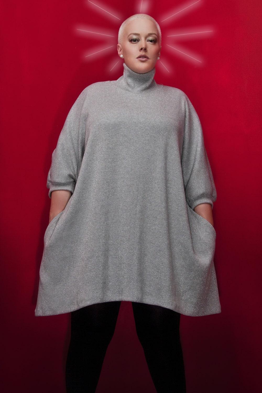 JIBRI Plus Size Oversized Silver Knit Sweater by jibrionline
