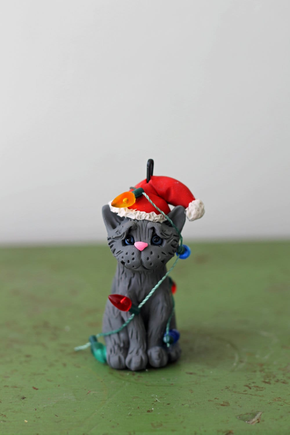 Cat Christmas Ornament - Grey Cat Tangled in Lights - READY TO SHIP - Hand Sculpted - CherryRedToppers
