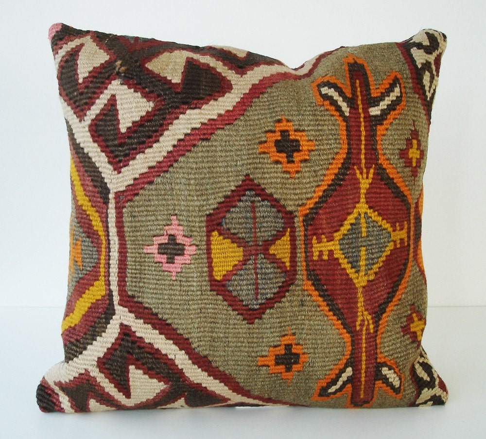 Hand Woven - Turkish Antique Kilim Pillow Cover - 16x16