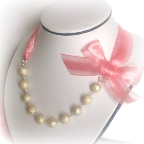 Ribbon and Pearl Necklace Pink Ribbon and Ivory by SnobishDesign from etsy.com