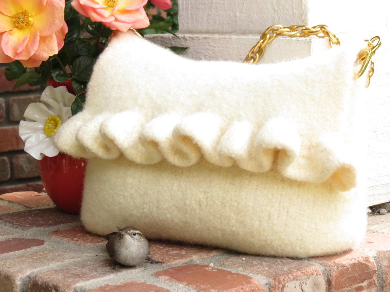 Knit Pattern Ruffle Bag : White Ruffle Felted Purse Pattern Knit Bag by TheKnittingCloset