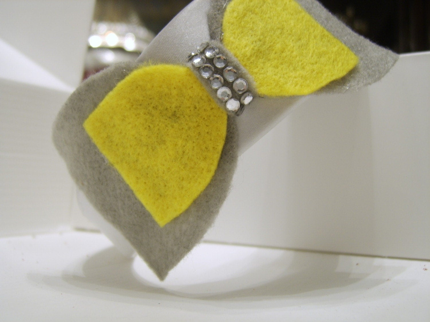 LEMONADE Silver Headband with Gray and Yellow Bow