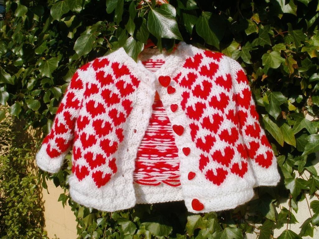 Baby Cardigan Little Valentine (handknitted) - koticzka