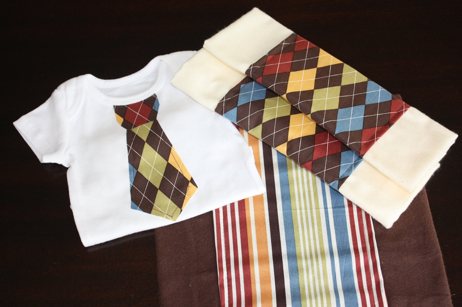 25% OFF SALE - Boutique Style Argyle Tie Appliqued Onesie with Matching Argyle & Guava Stripes Burp Cloth Set