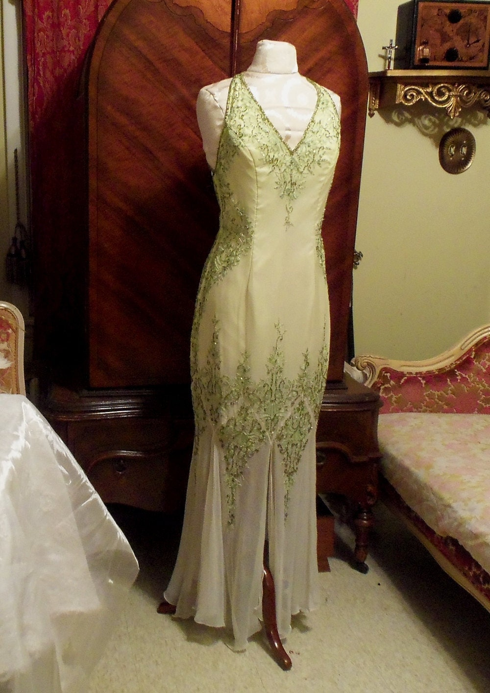 Vintage Evening Gown, Beaded White to Green, # Je Matadi ...
