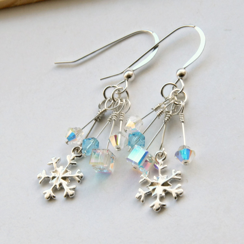Swarovski Snowflake Earrings Sterling Silver Snowflake Earrings Icicle Earrings Christmas Earrings