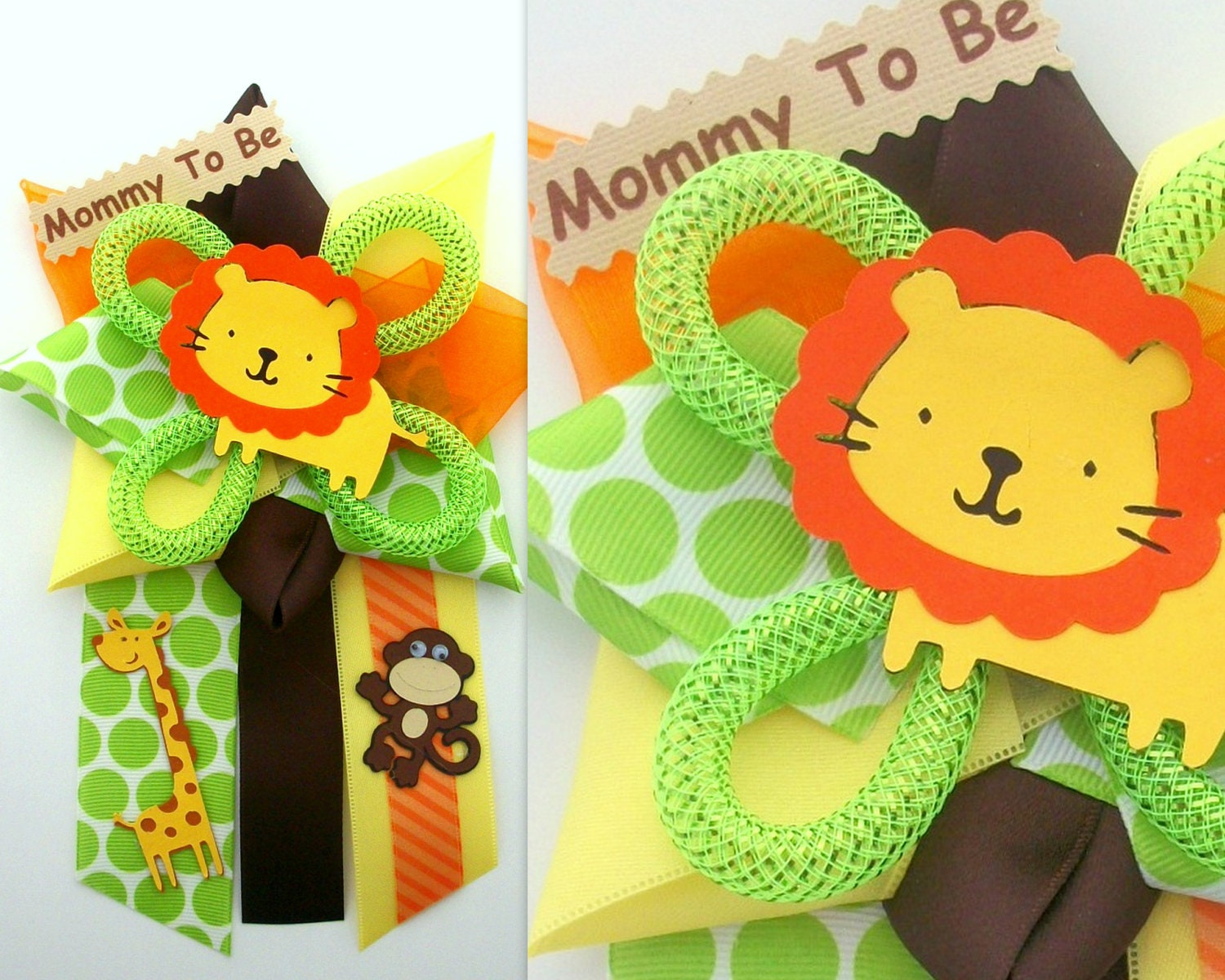 Safari baby shower corsage jungle animals by crazycraftfrog for Baby shower decoration safari