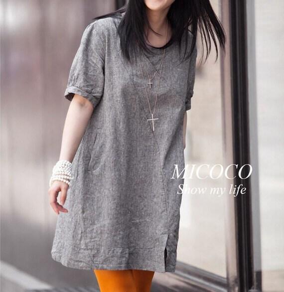 ساده و دوست داشتنی لباس کتانی (Q21617A)