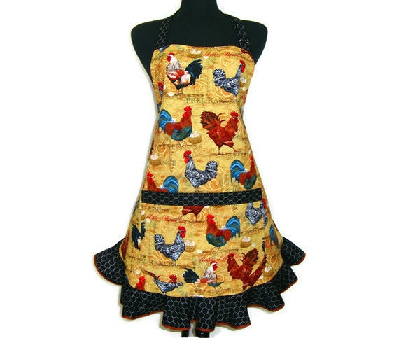 Retro Kitchen Aprons: French Roosters Retro Style Kitchen Apron With By ElsiesFlat