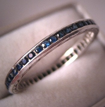 Antique Platinum Sapphire Eternity Band Wedding Ring Size 6