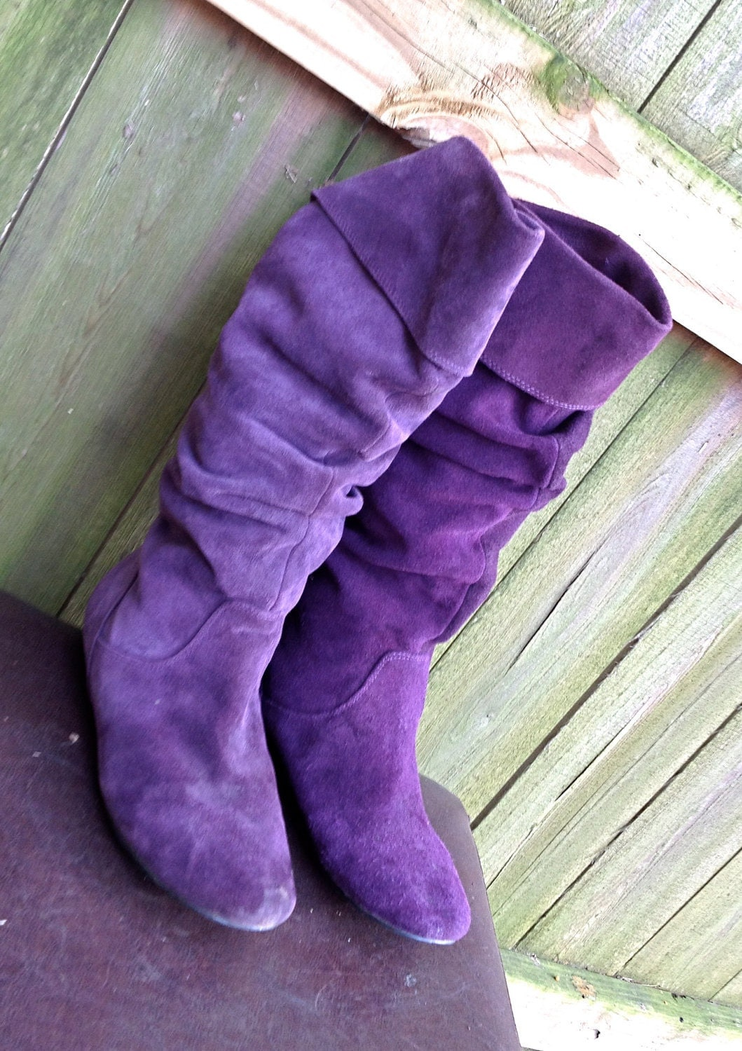 vintage purple suede flat boots slouchy foldover by