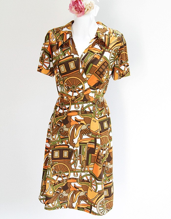Psychedelic Carriage Print Summer Dress -size S-M