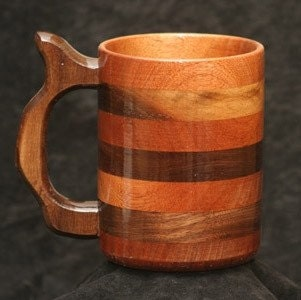 Handcrafted Wooden Mugs in Walnut/Mahogany Mix - 20 oz
