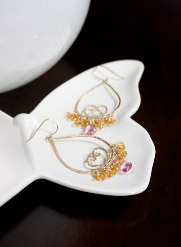 SALE Candela- 14k Gold Fill Teardrops with Pink Topaz and Citrine