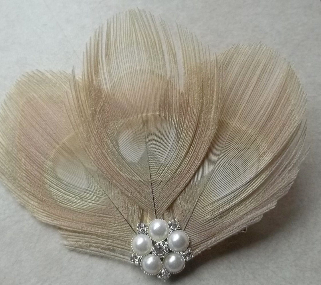 Bella - Ivory (Champagne, cream) Feather Fascinator, Rhinestones pearls, Bridal Wedding, Special Occasion, Ship Ready