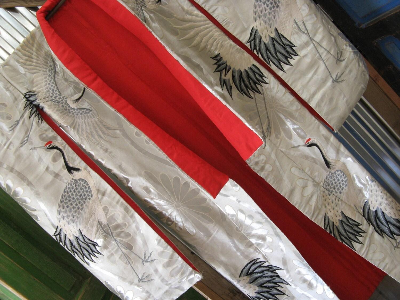 Vintage Uchikake Wedding Kimono Silver Couching