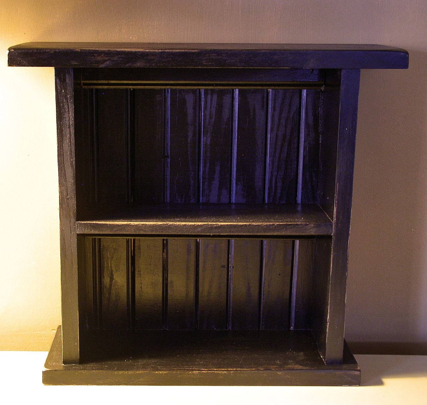 Primitive Distressed Black Shelf Farmhouse Painted Furniture / Shabby Chic Cottage Kitchen Organizer