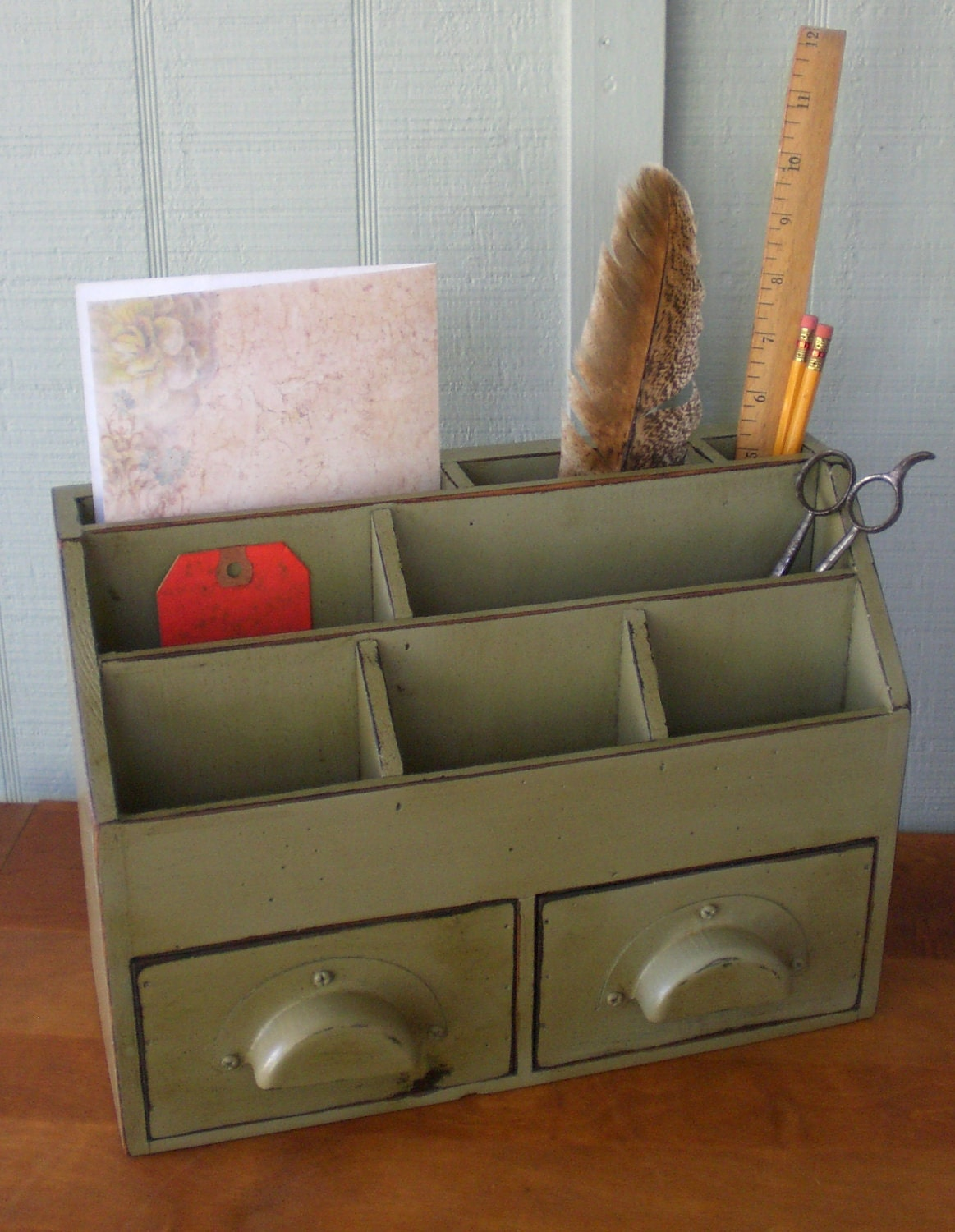 Primitive Mail Organizer Drawers Desk Kitchen Office Counter Wood ...