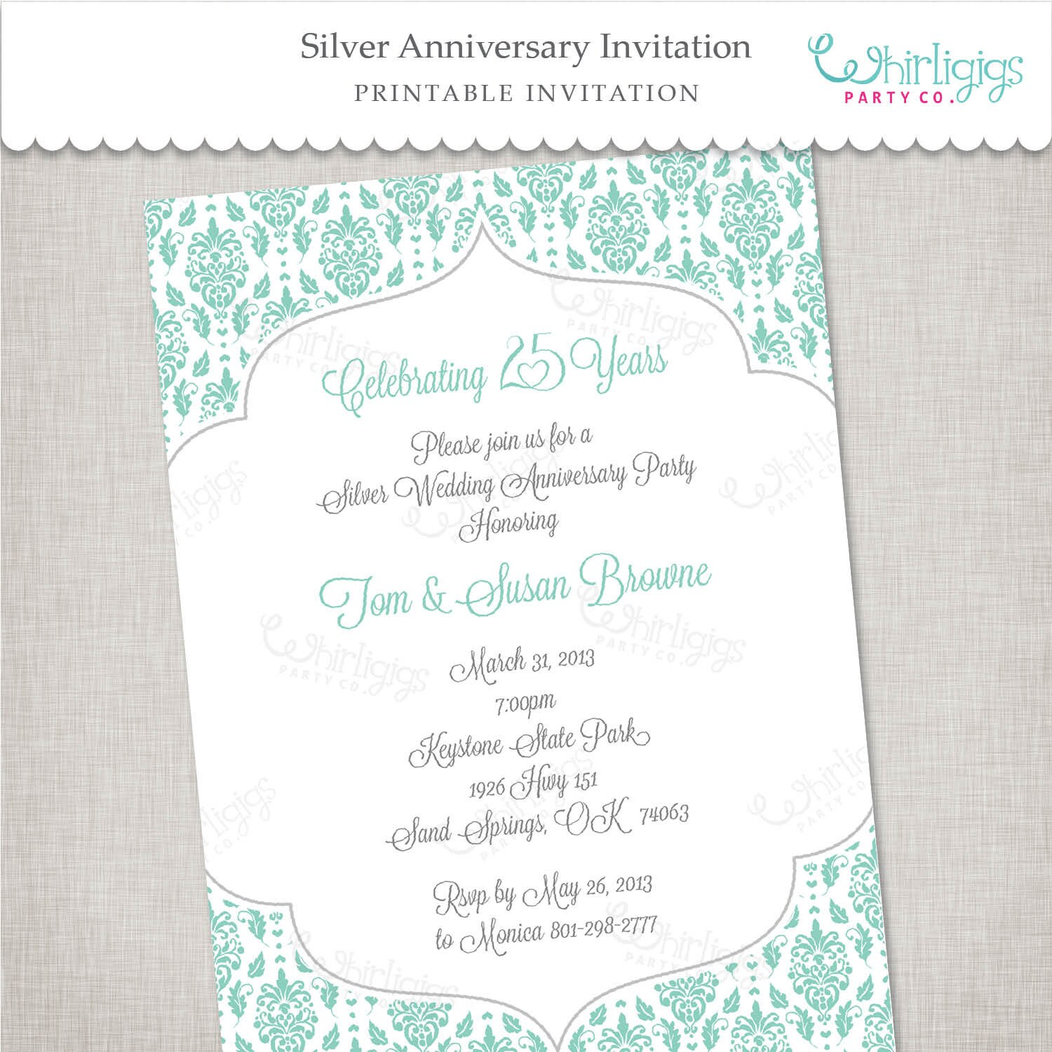 25th Silver Anniversary Printable Invitation By Whirligigspartyco